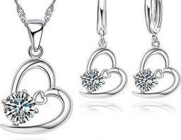 925 Sterling Zilveren Sieraden Voor Vrouwen Hart CZ Kristal Kettingen Met Oorbellen