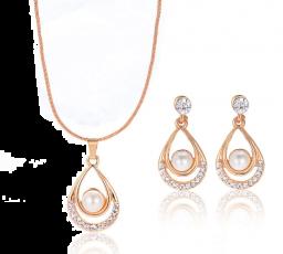 Gouden kleur gesimuleerde parel waterdruppel kristallen hanger ketting set