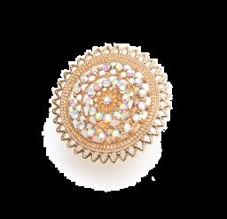 Strass ringen voor vrouwen gesneden bloem gouden metalen ring