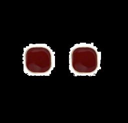 Wijnrood Emaille Geometrische Vierkante Oorbellen Voor Vrouwen ~ Rood