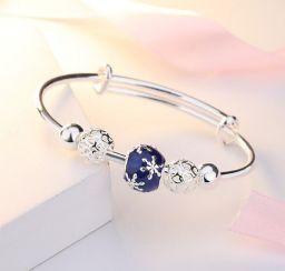Vrouw bloem kralen aanpasbare 925 sterling zilveren manchet armband