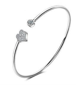 925 Sterling Zilver Verstelbare Damesarmband CZ Diamant Open Manchetarmband_HART