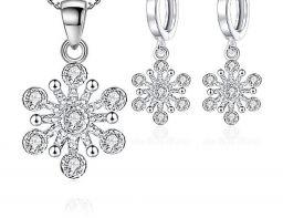 925 sterling zilveren sprankelende bloem hanger ketting oorbellen voor vrouwen