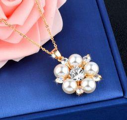 Romantische Sneeuwvlok Hanger Vrouwelijke Rose Goud Kleur Choker Parel Kettingen Sieraden