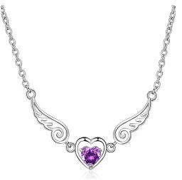 925 Sterling Zilveren Sieraden Paars Kristallen Hanger