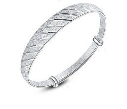 999 Sterling Zilveren Armband Strepen Verstelbare Bangle