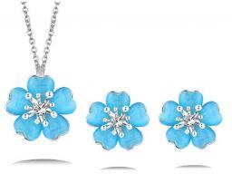 Opaal steen pruim bloem ketting sieraden sets voor vrouwen roze gouden kleur