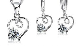 925 sterling zilveren hartvorm ketting oorbel set voor vrouwen