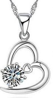 925 Sterling Zilveren Ketting Voor Vrouwen Hart CZ Kristal Ketting