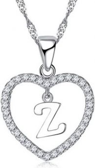 925 Zilver Hartje Ketting Met Hanger - Letter Z