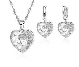 925 Sterling Zilveren Hart Vorm Zirkonia Ketting Oorbellen Sieraden Sets Voor Vrouwen