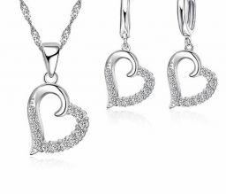 925 Sterling Zilveren Hartvormige Sieraden Voor Vrouwen Ketting Hanger + Leuke Oorbellen Sets