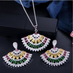 Multi Color Cubic Zirconia Crystal Ketting en Oorbellen Vrouwen Sieraden Sets