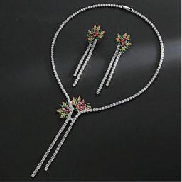 Luxe mode zirconia bloem kwastje choker ketting oorbellen voor vrouwen