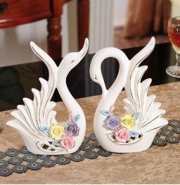 Moderne keramische zwaan beeldje Woninginrichting decoratie