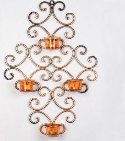 Goudkleurige Wandkandelaar Met 4 Waxinelichthouders