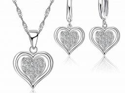925 Sterling Zilveren Ketting Oorbellen Set Moderne Stijl Dubbele Harten Voor Vrouwen Ketting