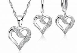 925 Sterling Zilveren Moderne Stijl Cross Golvend Ketting Oorbellen Set Voor Vrouwen Sieraden