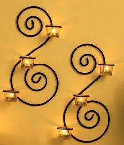 2 Delige Mooie Decoratieve wandkandelaar met gratis theelichtjes