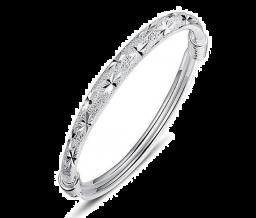 Glanzende Verstelbare 999 Sterling Zilver Manchet-Bangle-Armband Voor Vrouwen en Meisjes