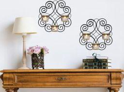 2 Delige Decoratieve Wandkandelaar Met Gratis Theelichtjes