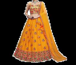 Women's Velvet Semi-stitched Lehenga Choli -Geel