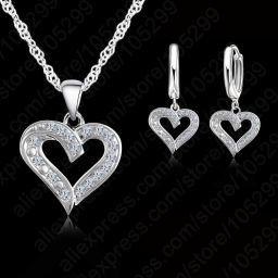 925 Sterling Zilveren Sieraden Elegant Cubic Zirkoon Hart Hangers Kettingen & Oorbellen Sieraden Sets