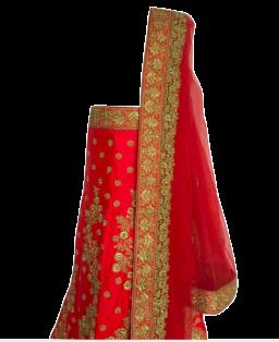 Rood-Roze Geboduurde Lengha Choli - Ongestikt