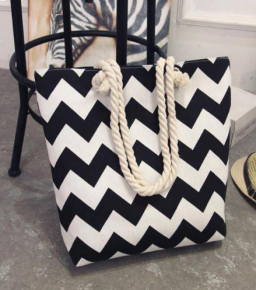 Strandtas voor Vrouwen ~ Zwarte met Witte Strepen