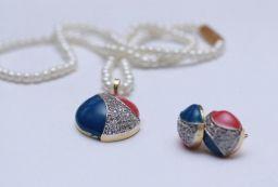 Rond Hanger Juwelen Set Parel Ketting met Oorbellen
